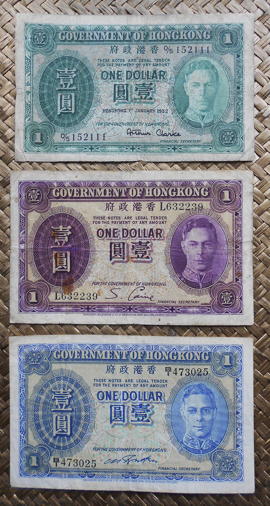 Hong Kong 1 dollar 1952 vs. 1936 vs. 1941 George VI anversos
