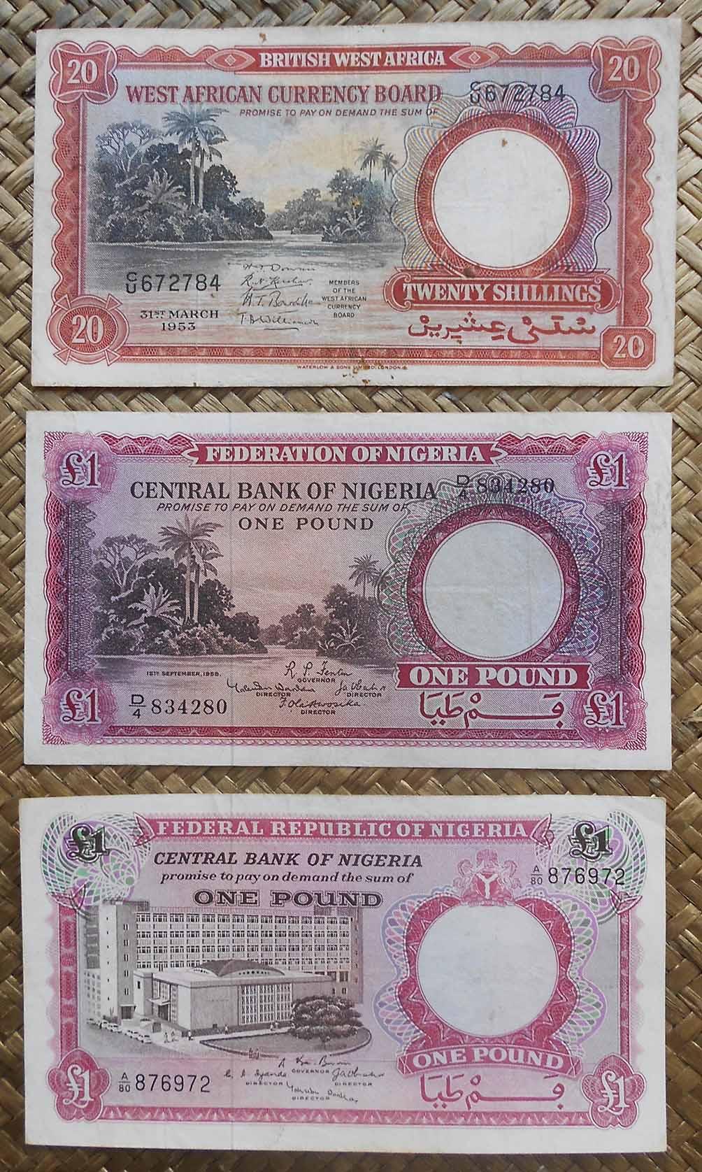 British West Africa vs. Nigeria 20 shilling 1953 vs. 1 pound 1958 vs. 1967 anversos