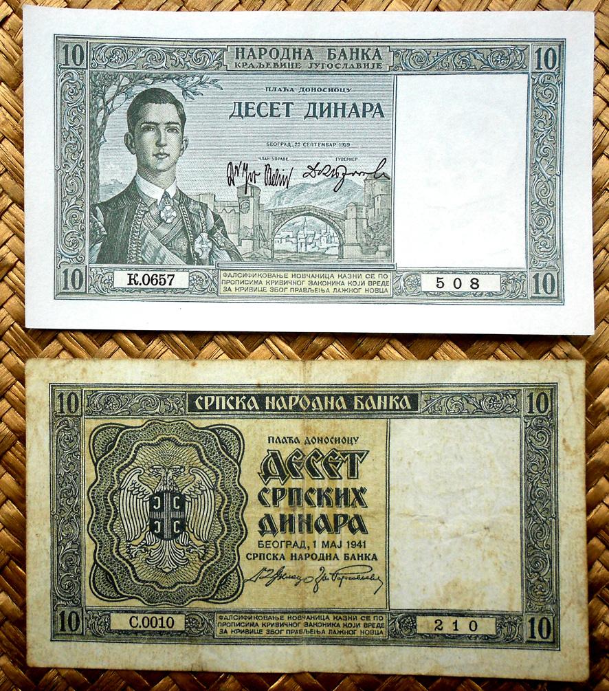 Yugoslavia 10 dinares 1939 vs. Serbia 10 dinares 1941 anversos