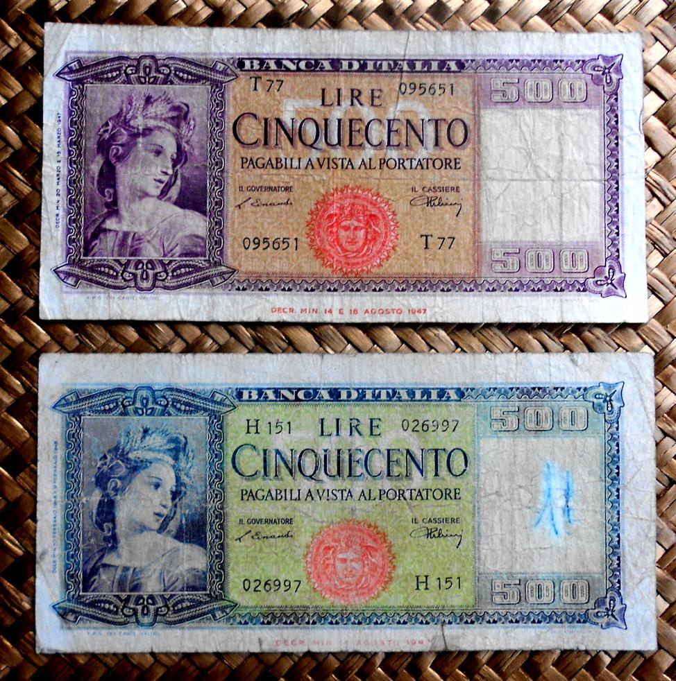 Italia -Ornata di Spigue- 500 liras 1947 vs. 500 liras 1948 anversos