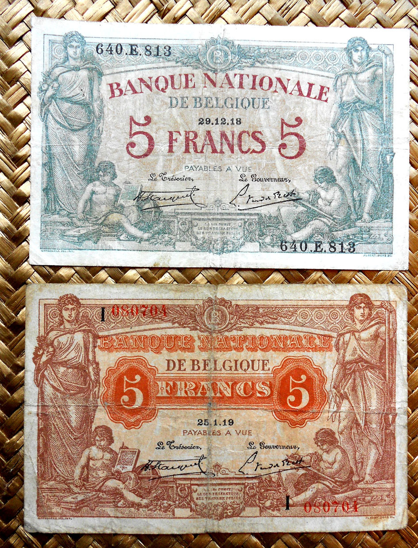 Bélgica 5 francos 1918 vs. 5 francos 1919 anversos