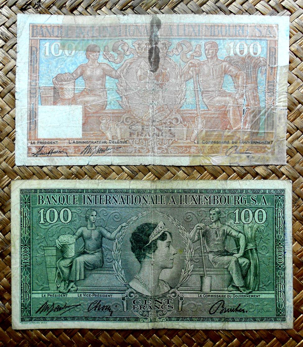 Luxemburgo 100 francos 1947 vs. 100 francos 1956 anversos
