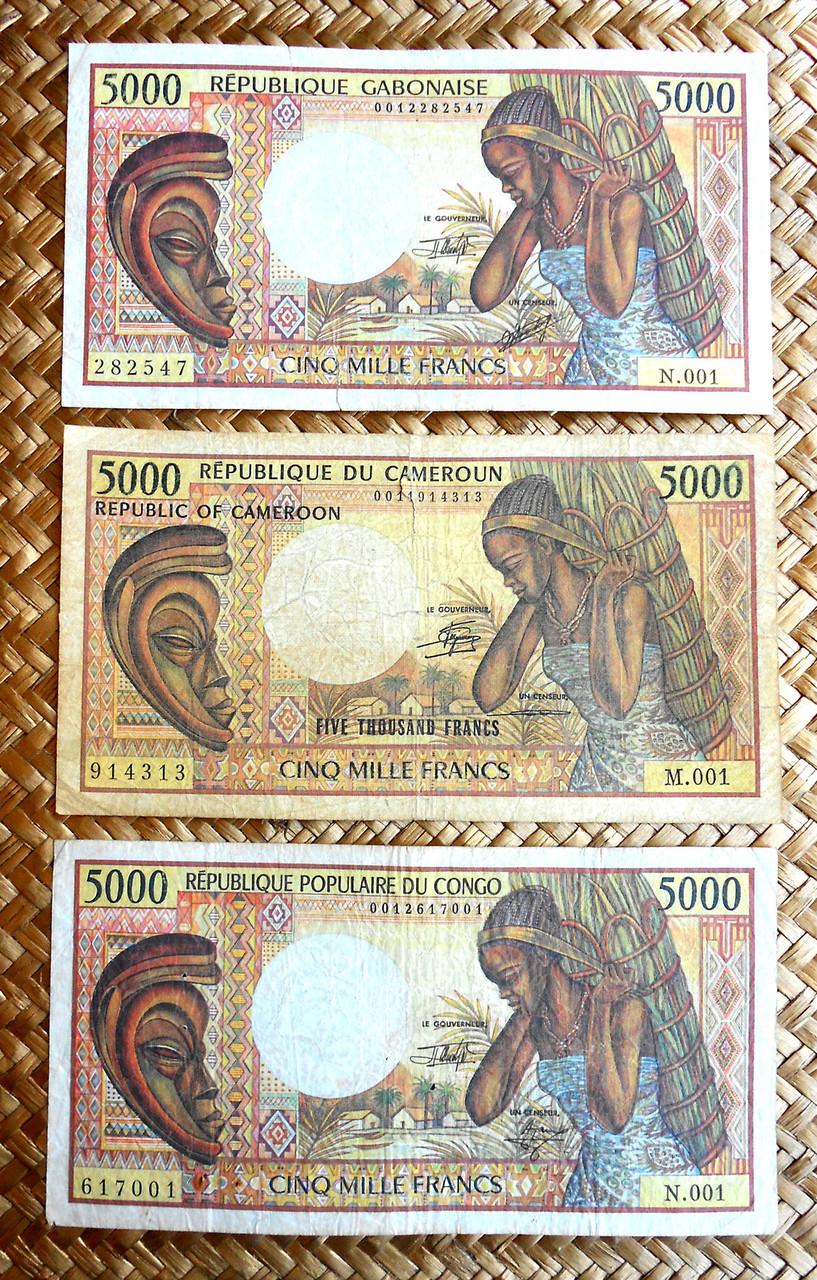 5000 francos Gabón 1984 vs. Camerún 1981 vs. Congo 1984 anversos