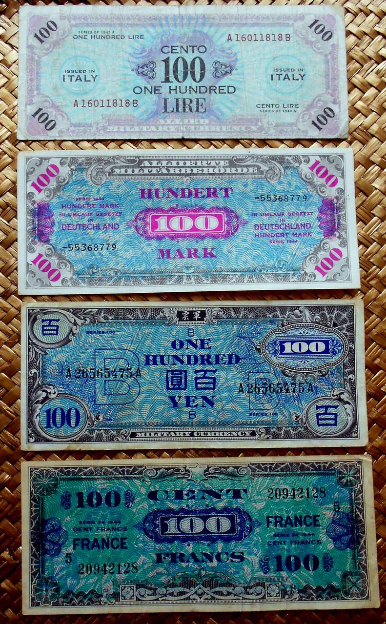 Segunda Guerra Mundial 1943 100 marcos vs. yenes, liras y francos anversos