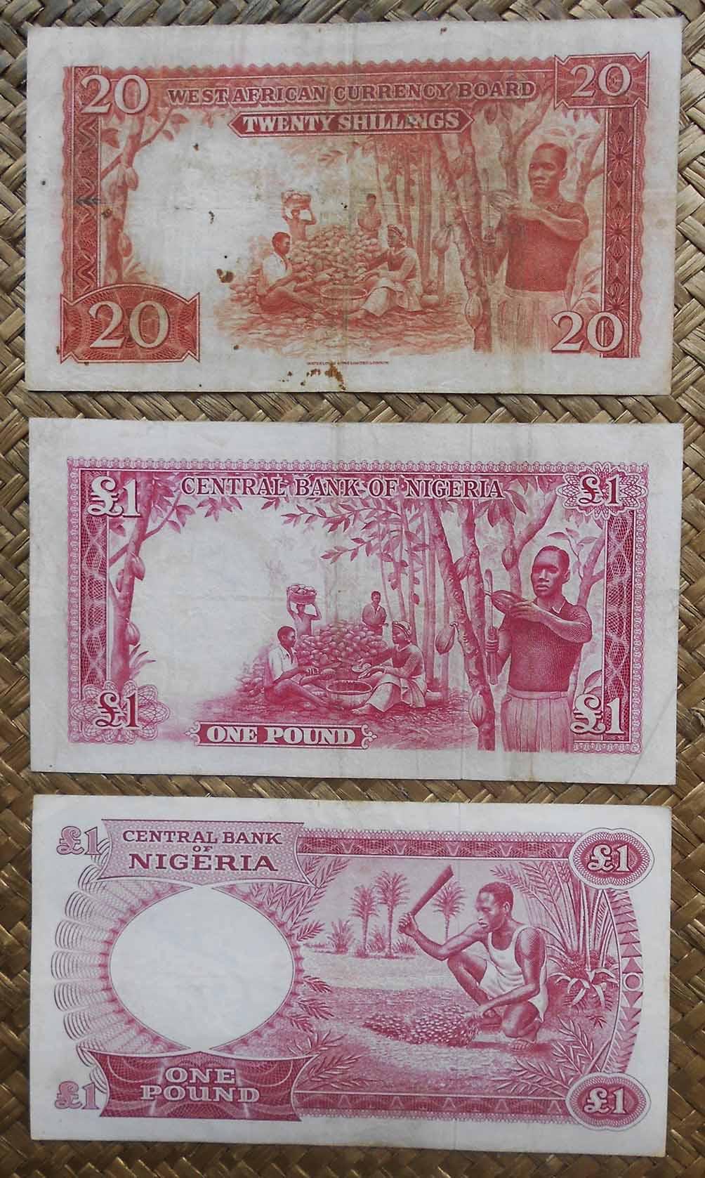 British West Africa vs. Nigeria 20 shilling 1953 vs. 1 pound 1958 vs. 1967 reversos