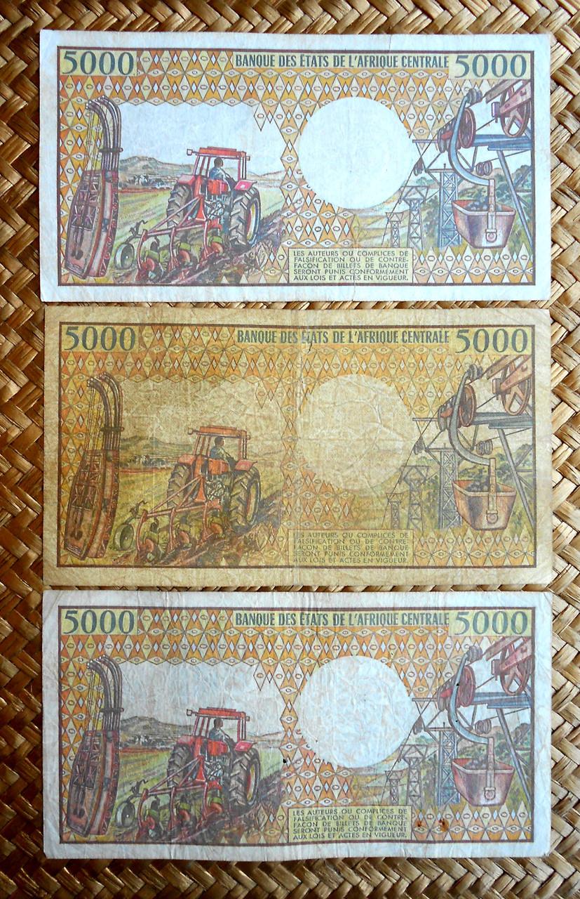 5000 francos Gabón 1984 vs. Camerún 1981 vs. Congo 1984 reversos