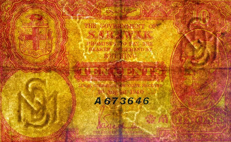 Sarawak 10 centavos 1940 marcas de agua