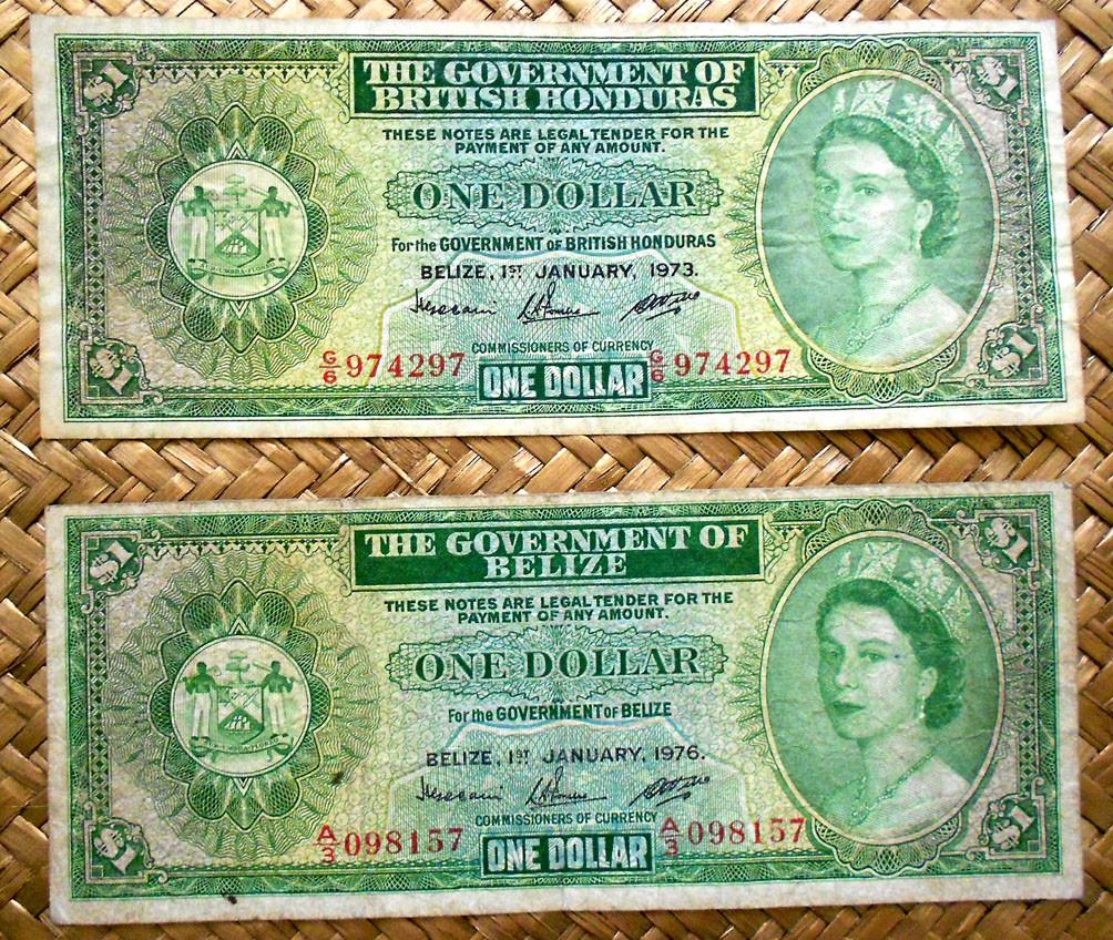British Honduras 1 dolar 1973 vs Belice 1976 anverso
