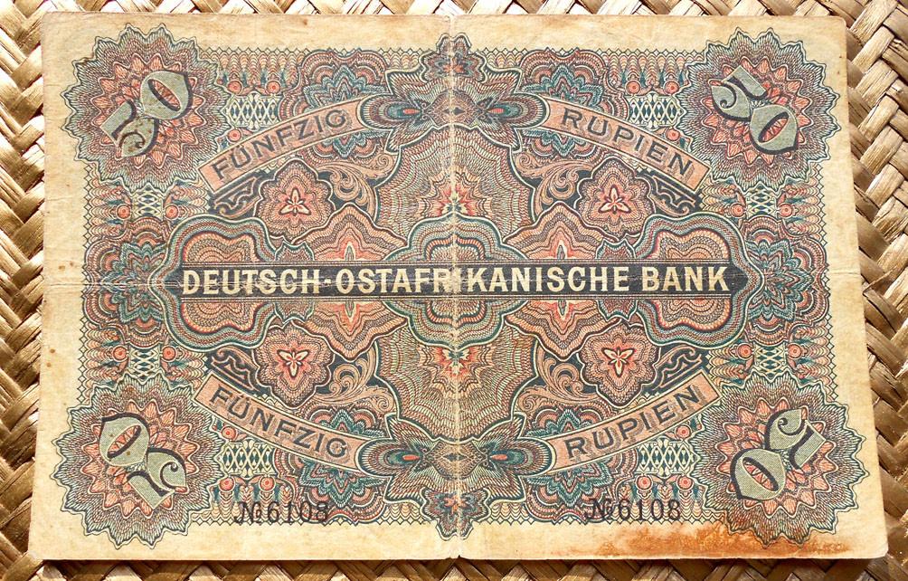 German East Africa 50 rupias 1905 reverso