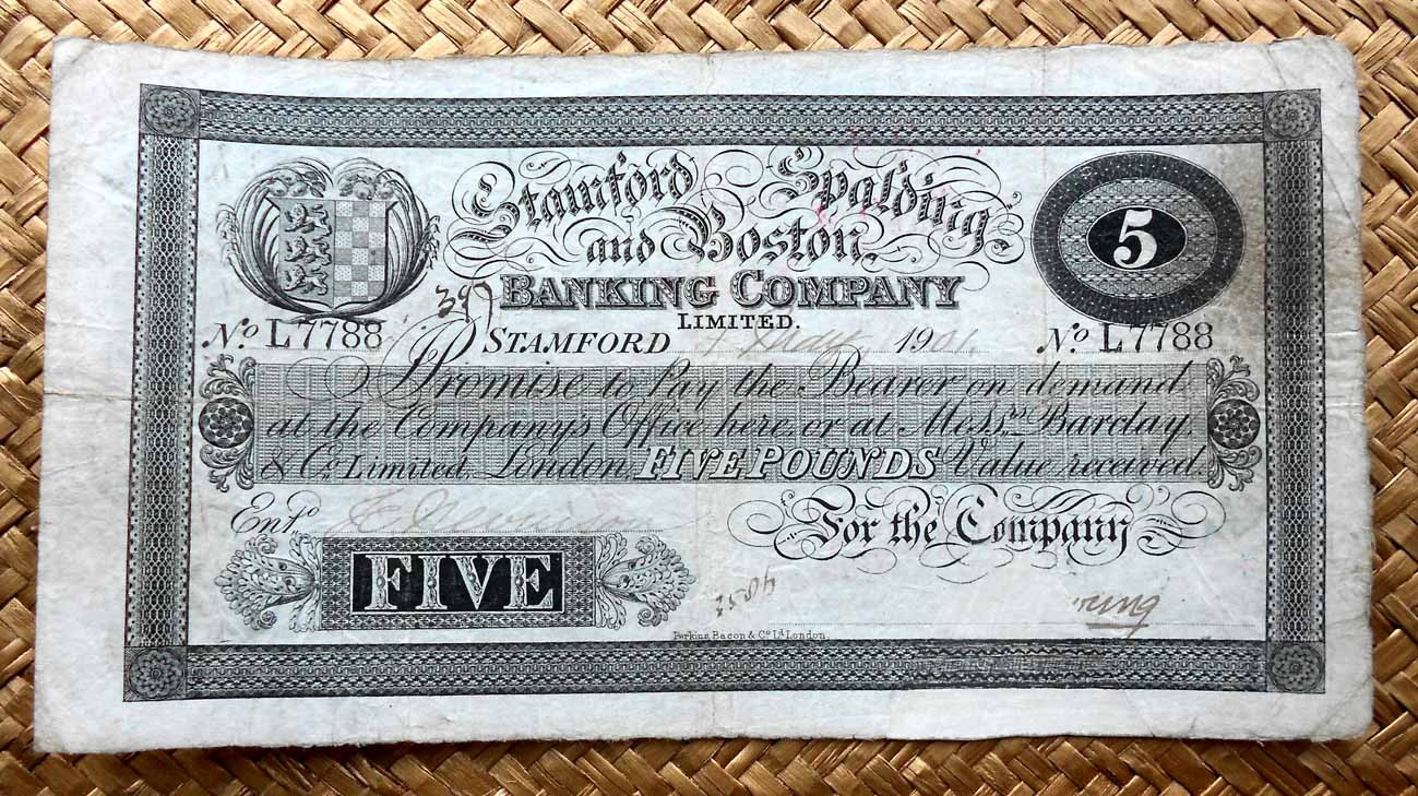 Inglaterra 5 libras 1901 Stamford, Spalding & Boston Bank anverso