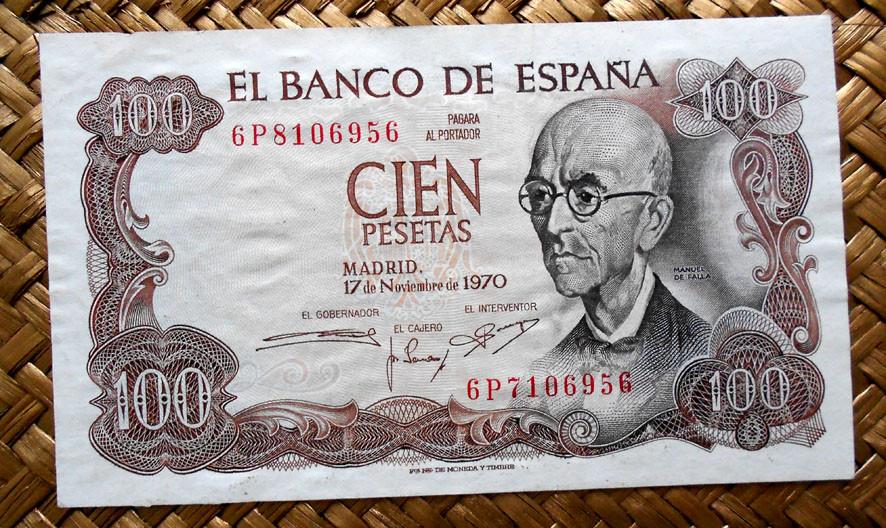 España 100 pesetas 1970 series salteadas; anverso