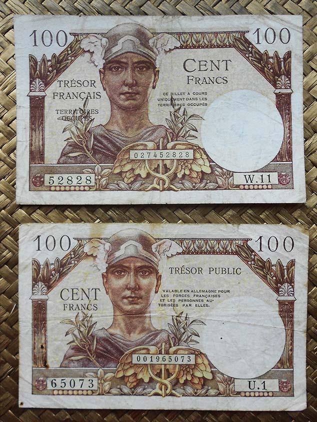 Francia 100 francos 1947 Trésor Francais vs. 1955 Trésor Public anverso
