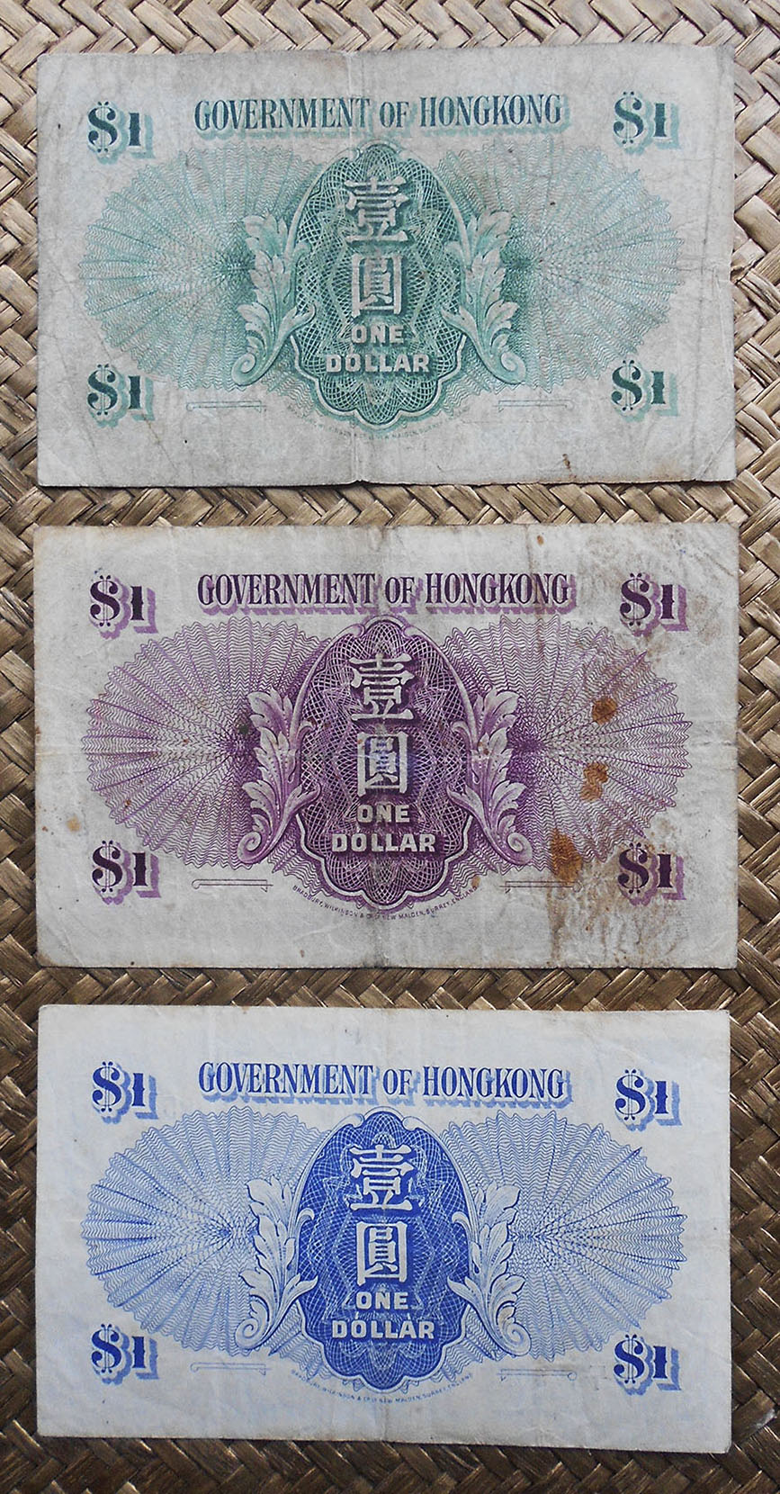 Hong Kong 1 dollar 1952 vs. 1936 vs. 1941 George VI reversos