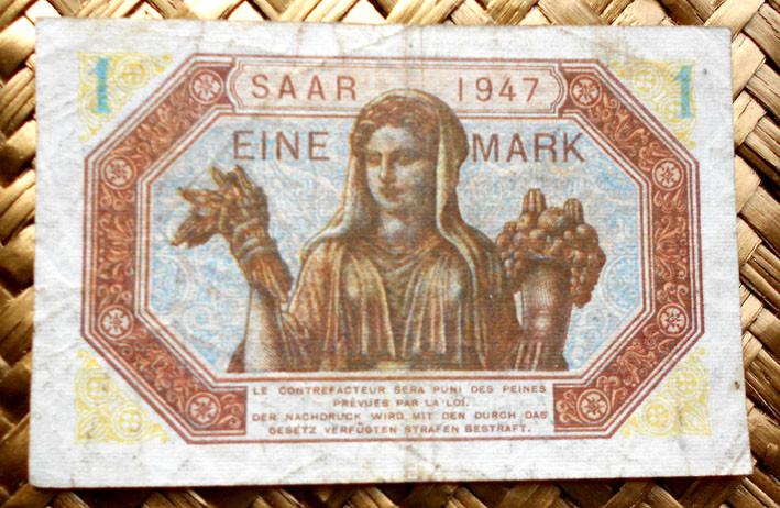 Saar/Sarre 1 marco 1947 reverso