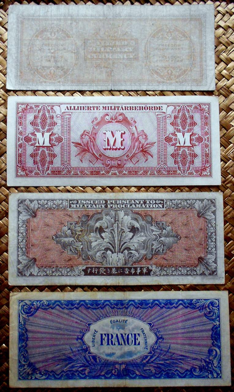 Segunda Guerra Mundial 1943 100 marcos vs. yenes, liras y francos reversos