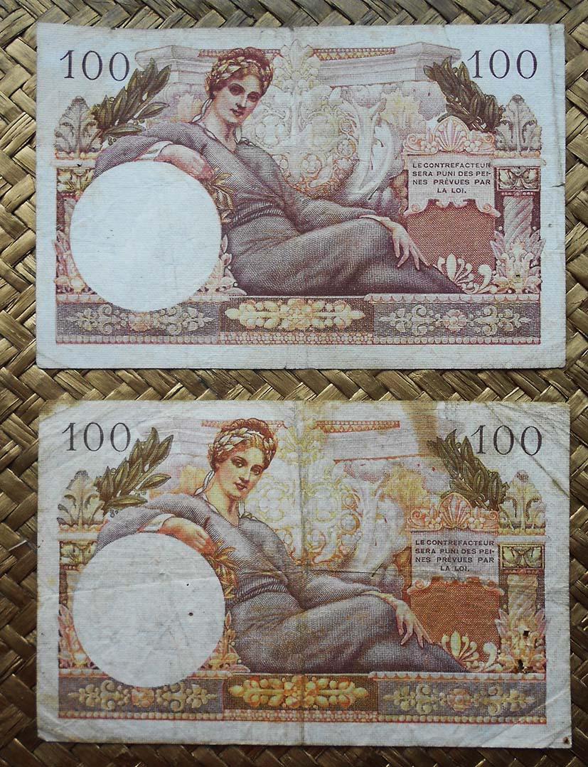 Francia 100 francos 1947 Trésor Francais vs. 1955 Trésor Public reverso