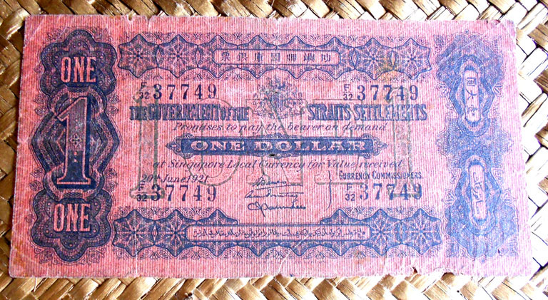 Straits Settlements 1 dolar 1921 anverso