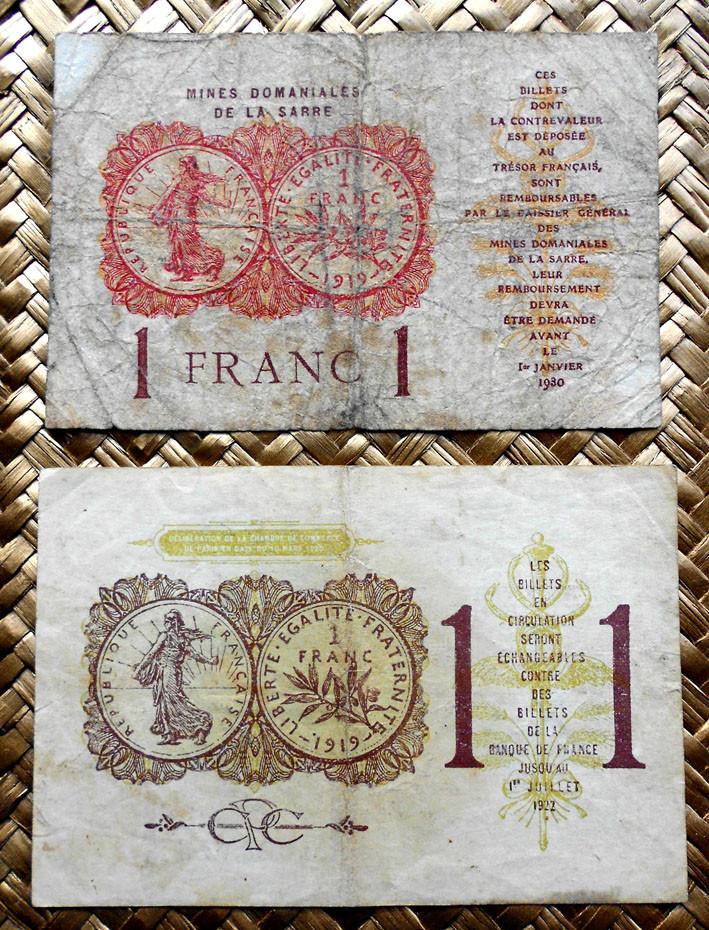Francia 1 franco 1920 Chambre de Comerce de Paris vs. 1 franco 1919 Mines Domaniales de la Sarre reversos