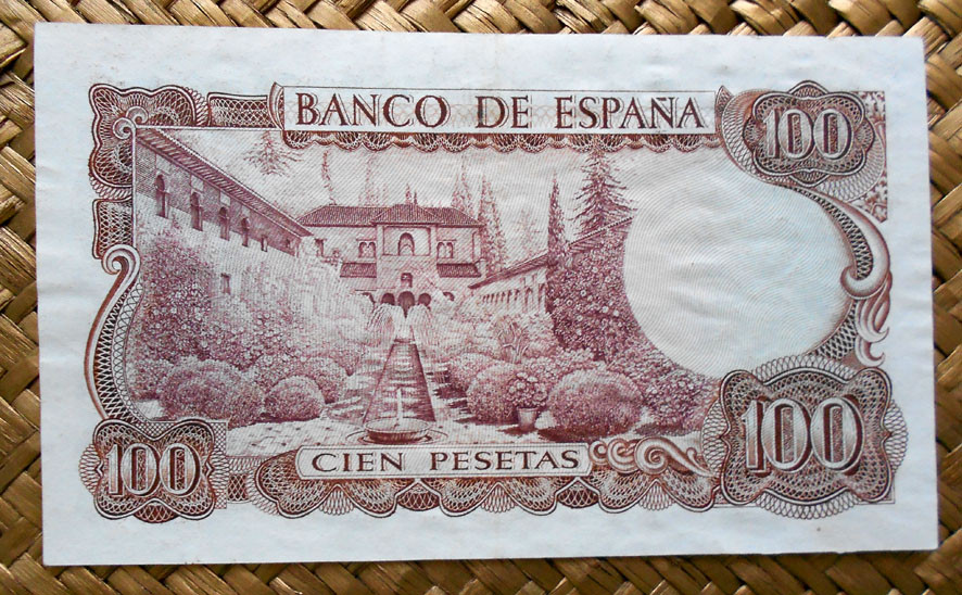 España 100 pesetas 1970 series salteadas; reverso