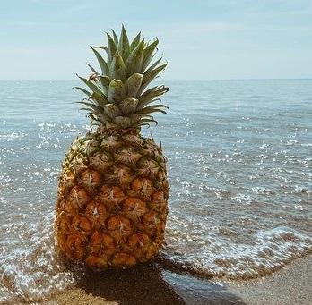 Lachs auf Ananas an Erbsen-Kurkuma-Hirse