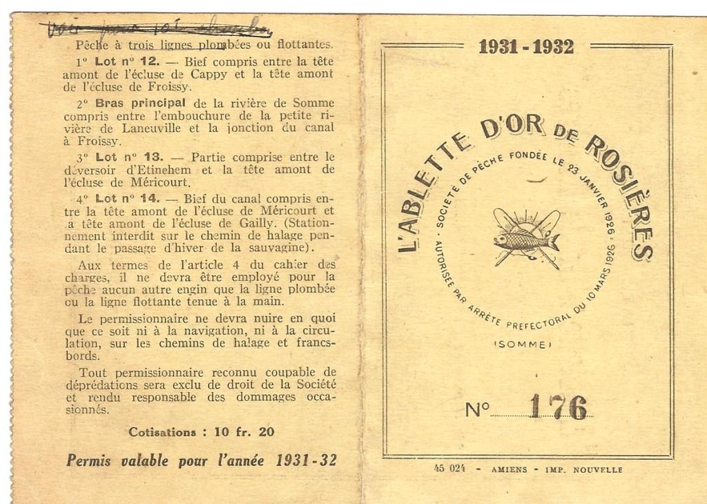 Carte de pêche 1931