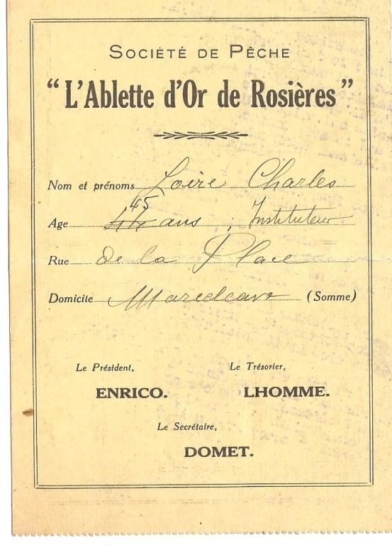 Carte de pêche 1931 suite