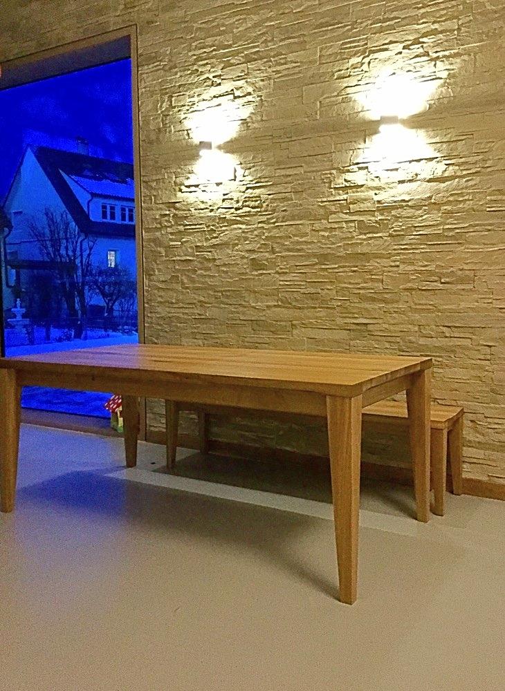 Tisch und Bank aus Eiche massiv