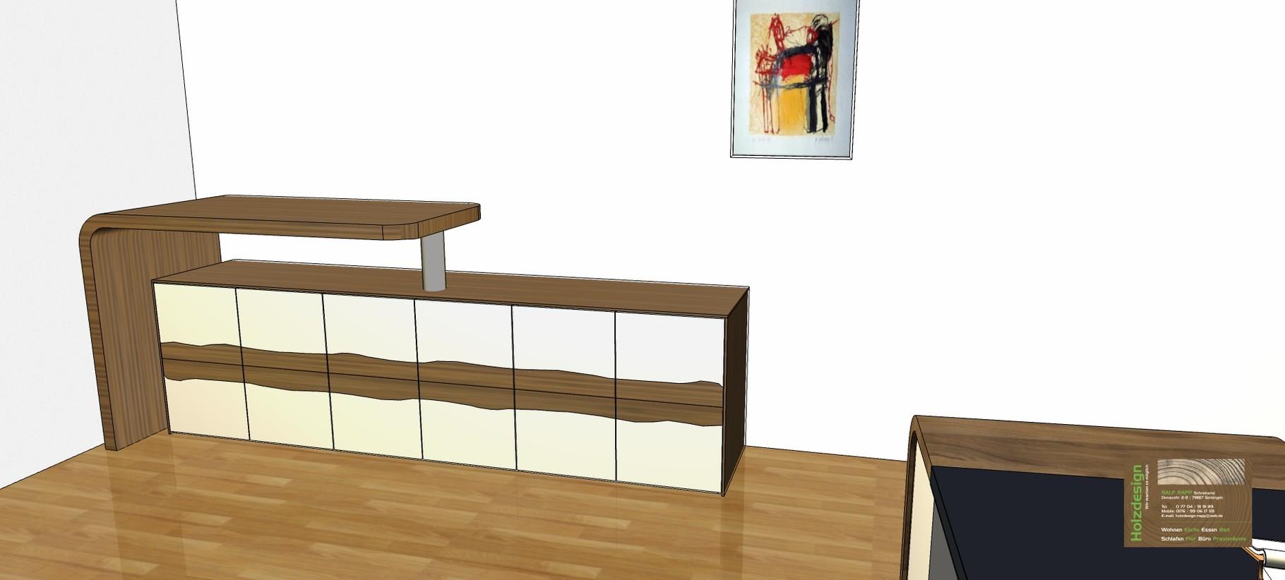 Planung Büroeinrichtung Abbildung Sideboard mit Drehtresen