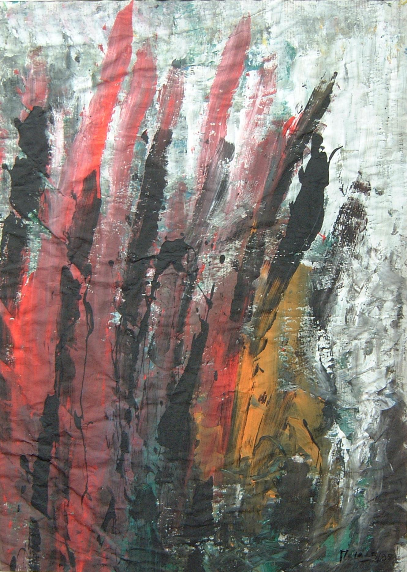 Rosen, 1998, 55x70cm, Zeitung