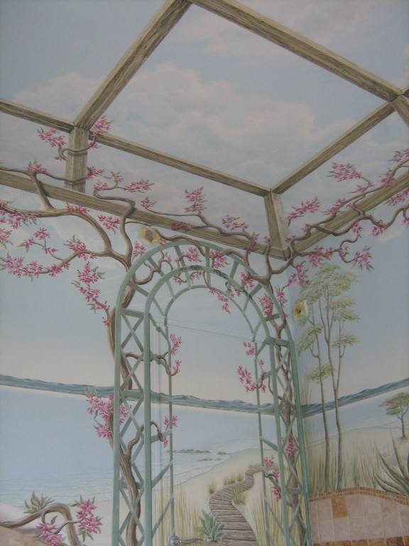 Fresque salle de bain jacuzzi murs et plafond