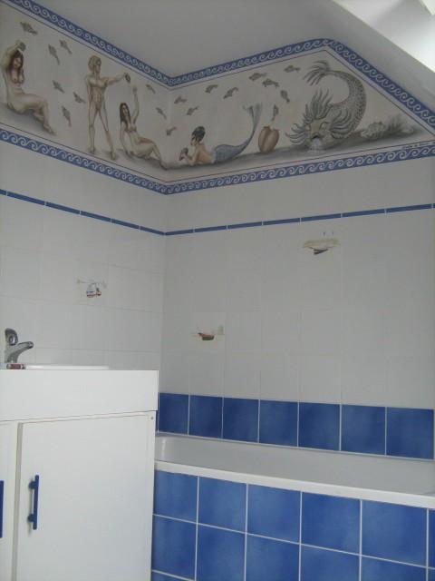 Fresque frise salle de bain termes Romains