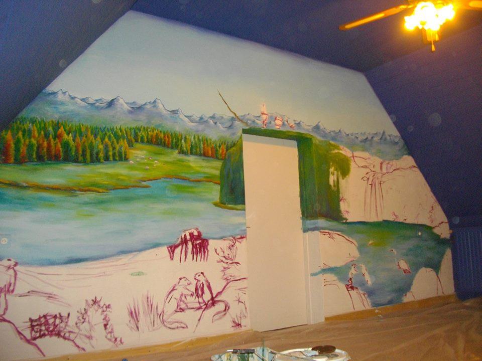 """Décor """"Petits animaux de la Montagne"""" 5.50m x 3m"""
