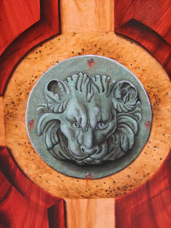 Tête de lion faux bronze