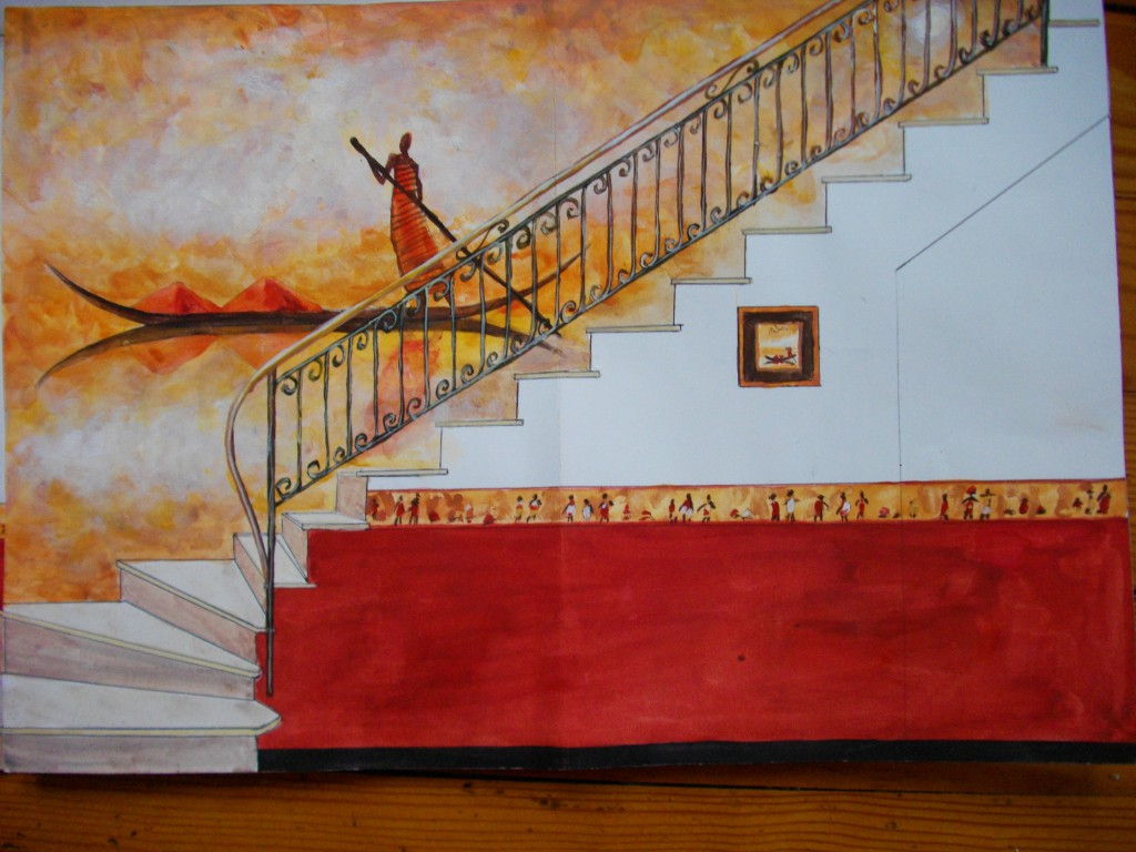 Maquette Décor africain cage d'escalier