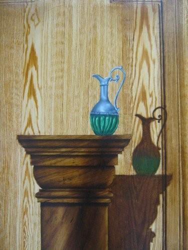 Marquetterie faux bois colonne