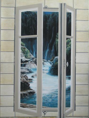 Trompe l'oeil fenêtre et cascade