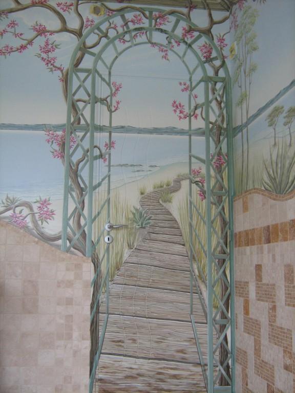 Fresque salle de bain jacuzzi porte