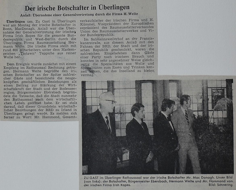 Gründungsfeierlichkeiten zur Generalvertretung der irischen Teppichmanufaktur Tintawn Carpets im Überlinger Rathaus.