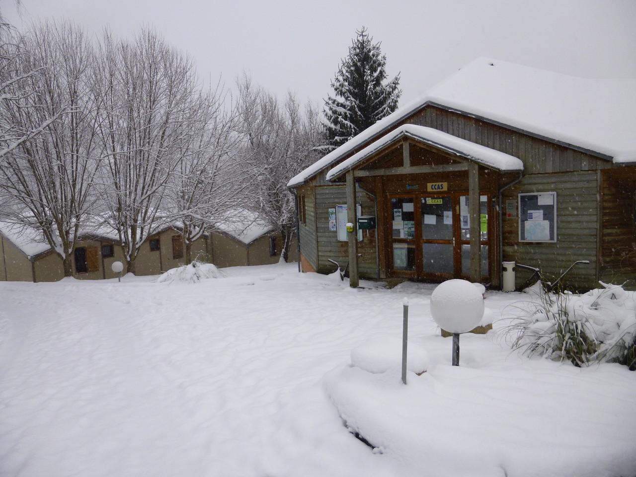 L'accueil du village sous la neige