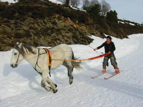 Activité Ski-joering sur la station de ski de Guzet Neige