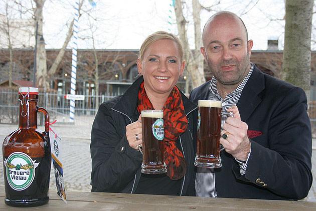 Brauereichefin Petra Lorenz im Gespräch mit Peter von Gersdorff