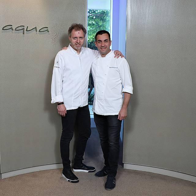 Paolo Casagrande und Sven Elverfeld  im Restaurant Aqua im The Ritz-Carlton, Wolfsburg  Foto: Leitzke, Matthias