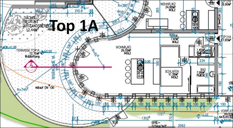 Top 1A liegt im Erdgeschoß, Ausrichtung Süd West mit einer sehr großen Terrasse (ca. 71m² + 12m² Grünnfläche) mit Direktzugang. Wohnnutzfläche ca. 68m²