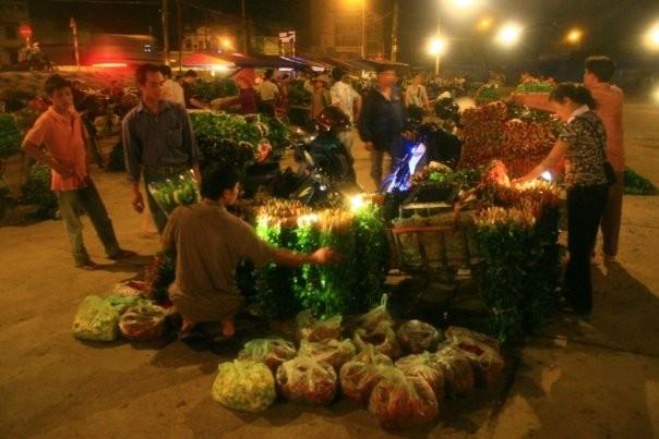 Vendeurs au marché aux fleurs de nuit (Hanoi, Viet Nam)