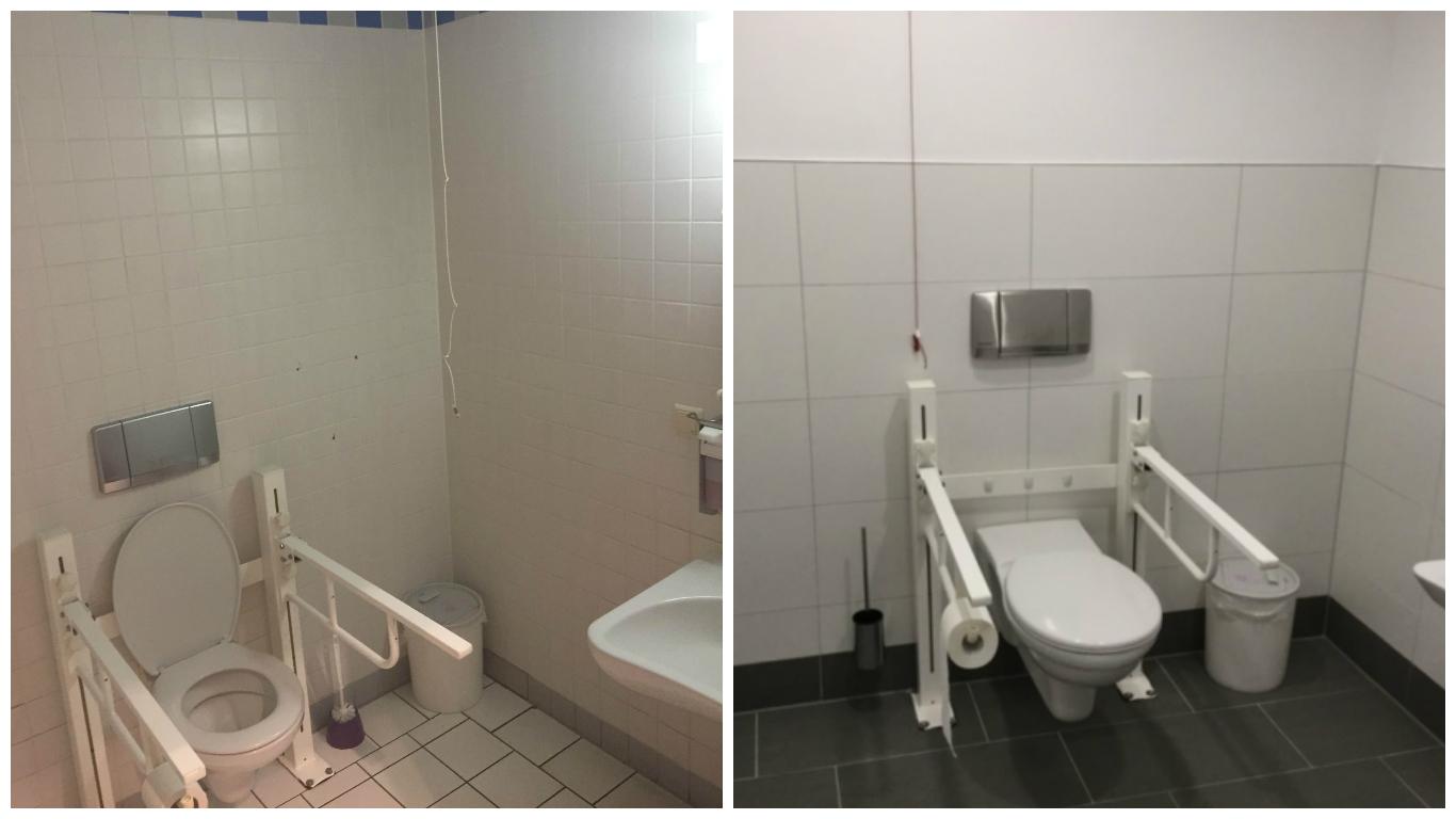 Kunden-WC im Herold Center, Vorher - Nachher // August 2016