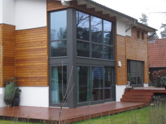 Eckfenster anthrazit über 2 Etagen