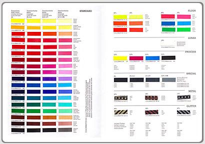 Wässrige Siebdruckfarben CHT, Farbkarte, BOMO-PRINT, Colormatch Standard System