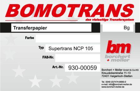 Transferdruck Farbsystem, Transferpapier, Supertrans-Papier NCP 105