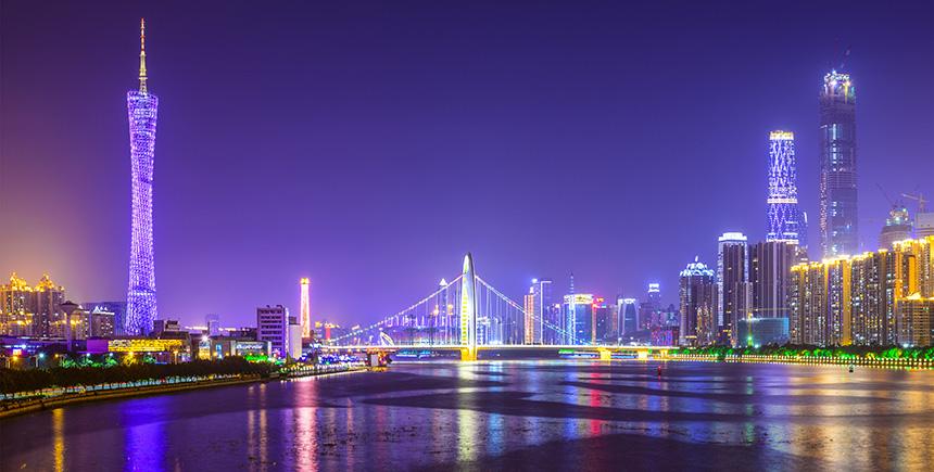 Zhujiang River with Canton Tower etc