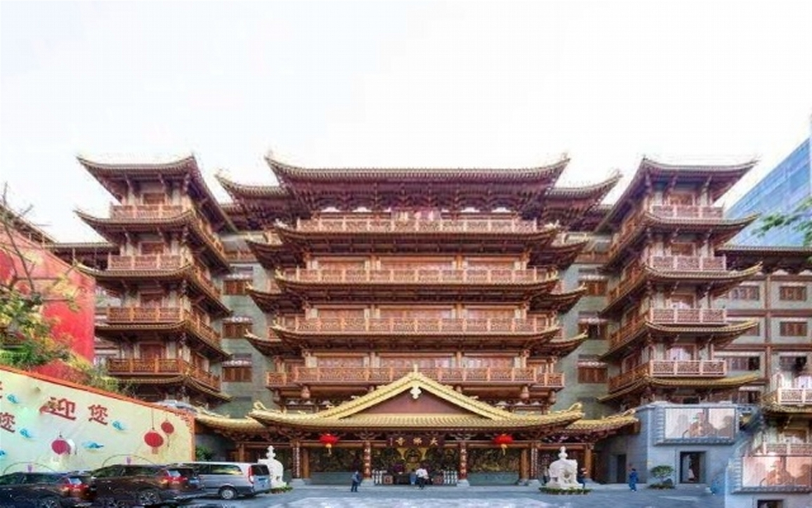 Big Buddha Temple, pressed by the city around